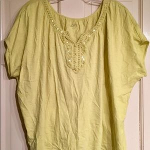 NWT LOFT Crop Crocheted Split Neck BoHo Tee Top  L